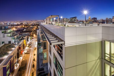 mosso apartment rooftop at night in soma san francisco